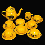 Very Rare Miniature Childs Toy Graniteware Enamelware Tea Set  BLACK BEAR Germany c1870
