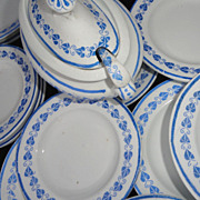 Childs 40pc Dinner Set 1890 BLUE HEARTS Copeland Staffordshire LADLES