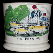 Early Childs Mug FEEDING PIGS Naive Staffordshire Folk Art c1850 Polychrome