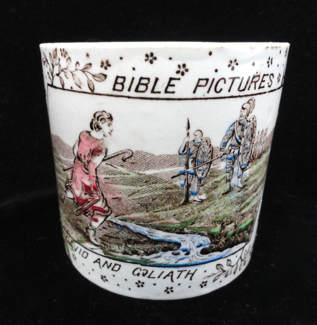 Alphabet ABC Mug ~Bible Stories ~ David and Goliath 1880