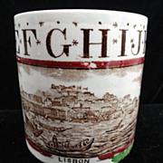 Antique Childs Staffordshire ABC Mug ~ City of Lisbon Potugal Brownhills Pottery