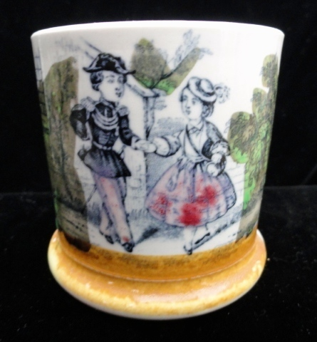 Pearlware Child's  Mug ~ Young LOVERS 1840