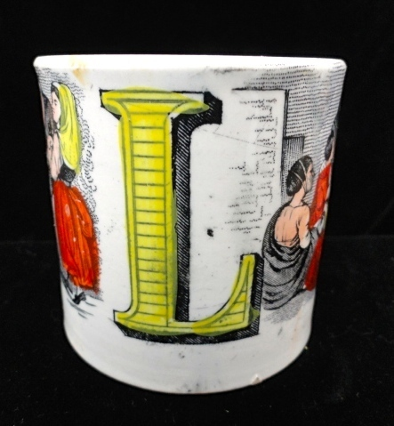 Early ABC MUG ~ Letters K + L ~ 1850 ~ Kindness ~ Love