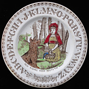 Child's Alphabet ABC Plate ~ Red Riding HOOD ~ 1880