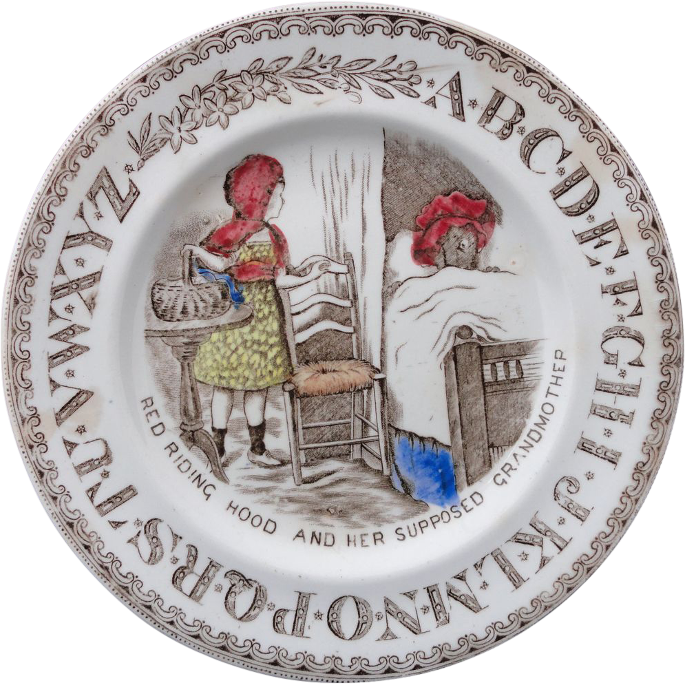 Early Staffordshire ABC Plate ~ Red Riding Hood/Grandmother ~ 1880