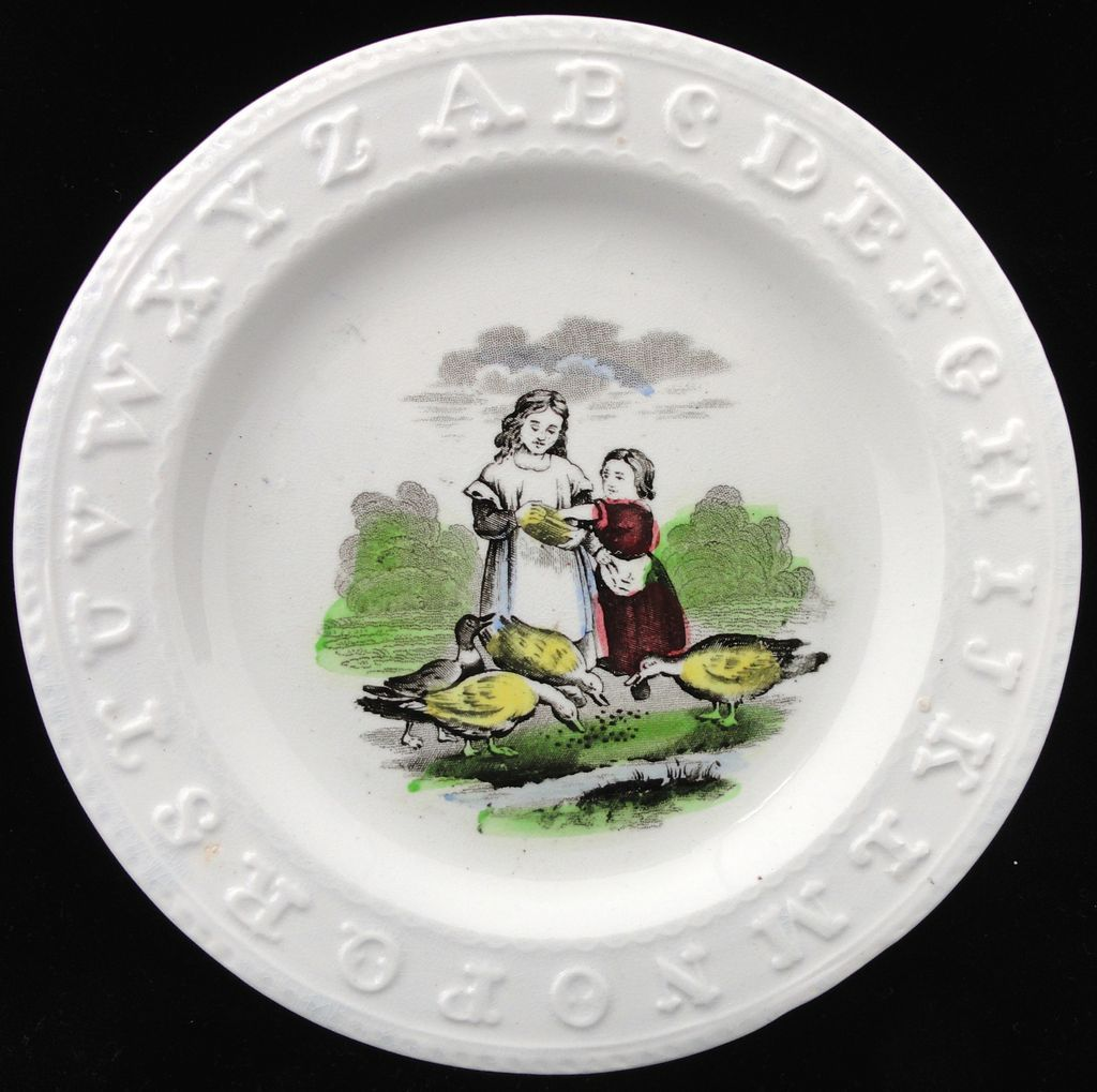 Early Pearlware ABC Plate ~ Feeding Ducks 1850