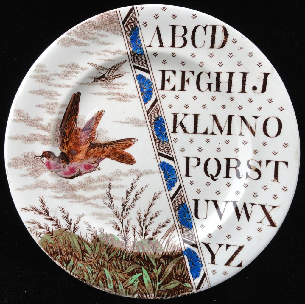 Staffordshire Child's Educational Plate ~ ABC DOVE ~ 1880