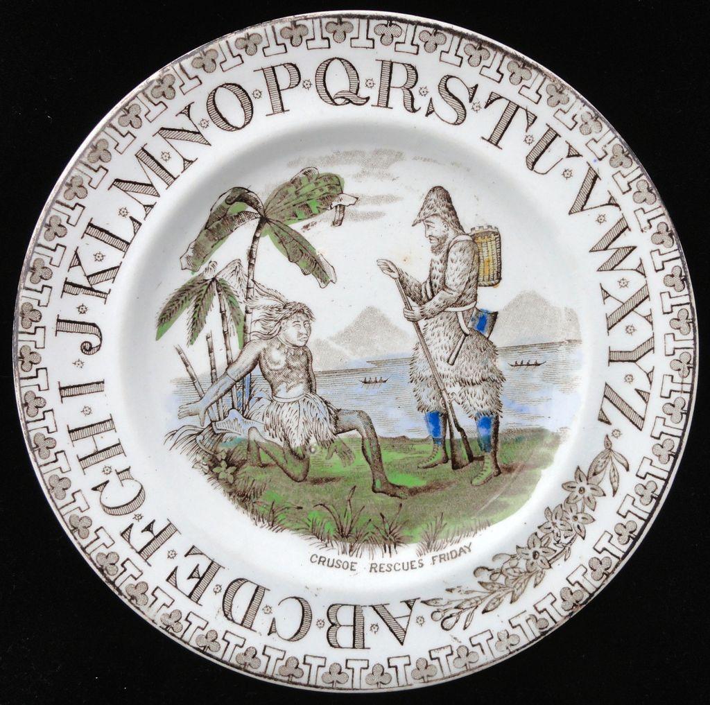 Staffordshire ABC Plate ~ Robinson Crusoe ~ 1880