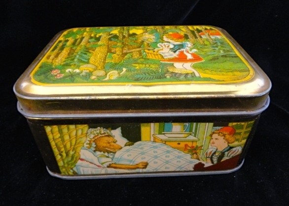 Exc French Fontaine Biscuit Tin ~ Red Riding Hood 1930