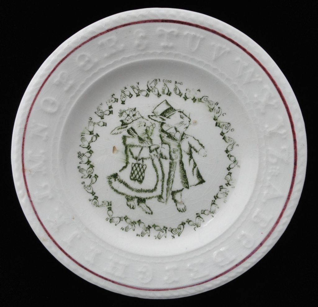 Rare Child's Double ABC Plate ~ Rabbits ~ Sign Language ~1890