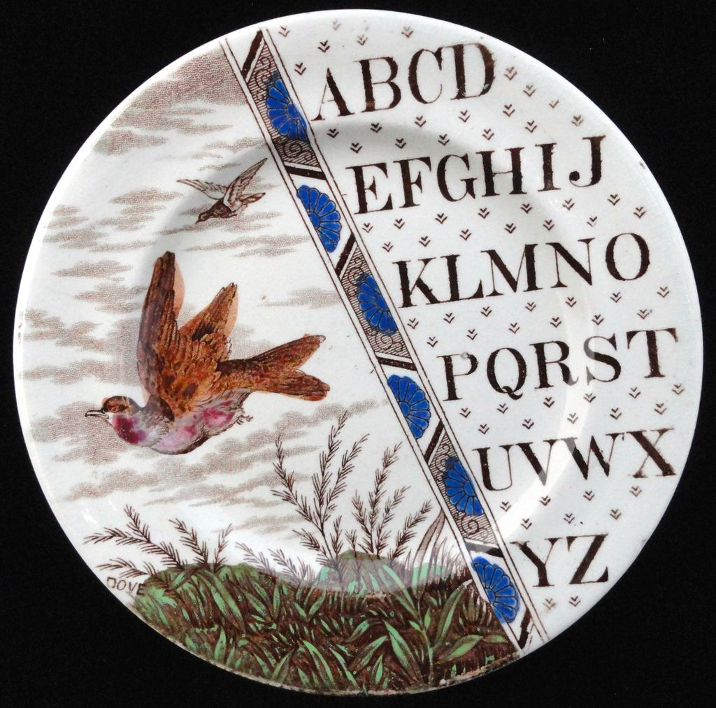 Staffordshire Child's Alphabet Plate ~ ABC DOVE ~ 1880