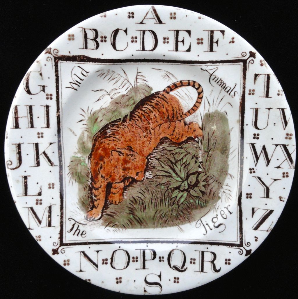 Child's Staffordshire ABC Plate ~ The TIGER 1880