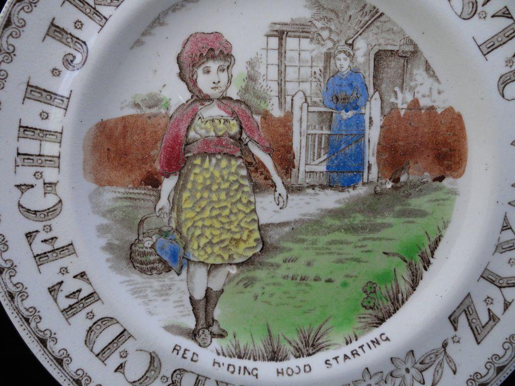 19th Century Nursery Plate ~ Red Riding Hood ~ 1880