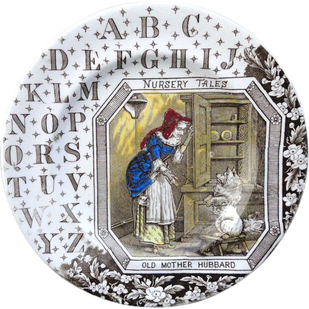 Child's Antique Alphabet ABC Plate ~ Old Mother Hubbard ~ 1880