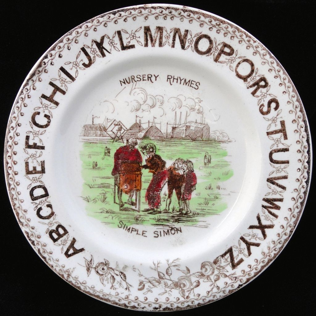 19th Century Alphabet Plate ~ ABC Simple Simon ~ 1880