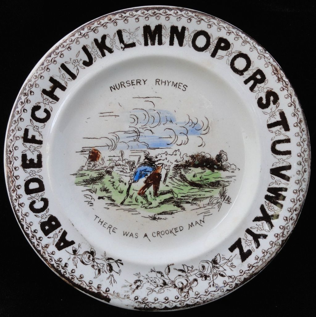 19th Century Alphabet Plate ~ ABC Crooked Man ~ 1880
