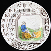 Child's Antique Alphabet ABC Plate ~ Whittington and his Cat ~ 1880