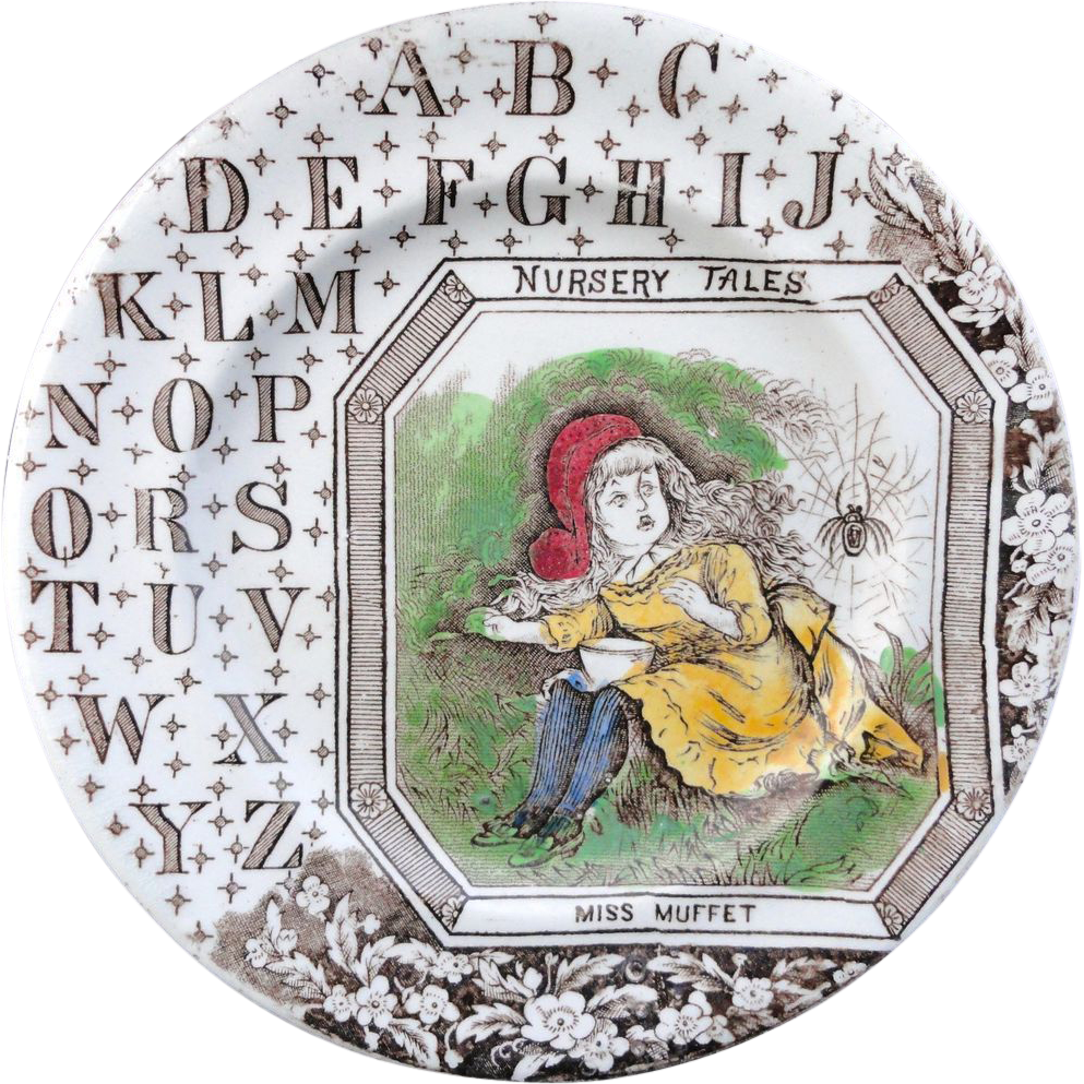 Victorian Alphabet ABC Plate ~ Nursery Tales ~ Miss Muffet ~ 1880