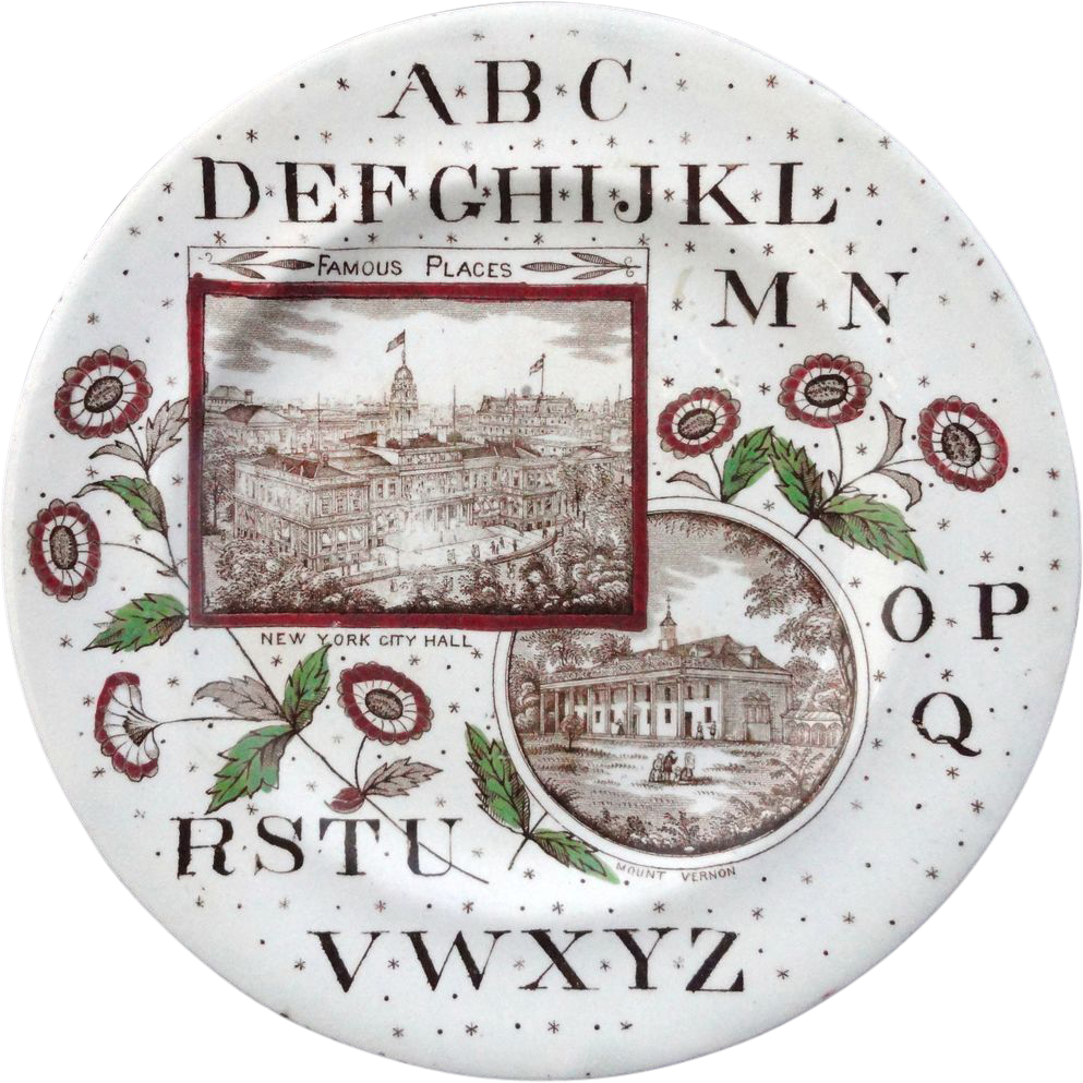 American Historical ABC Plate ~ New York City & Mt. Vernon ~ 1880