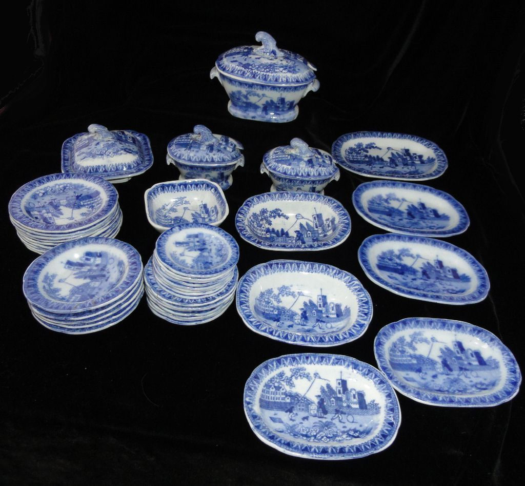 Very Scarce Historical Staffordshire KITE FLIER Child 43pc Miniature Dinner Set