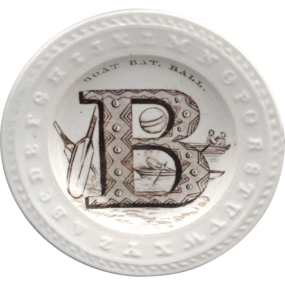 English Staffordshire Childs Plate ~ Letter B Boat Bat Ball 1840