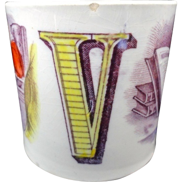 Early ABC MUG ~ Letters U + V ~ 1840