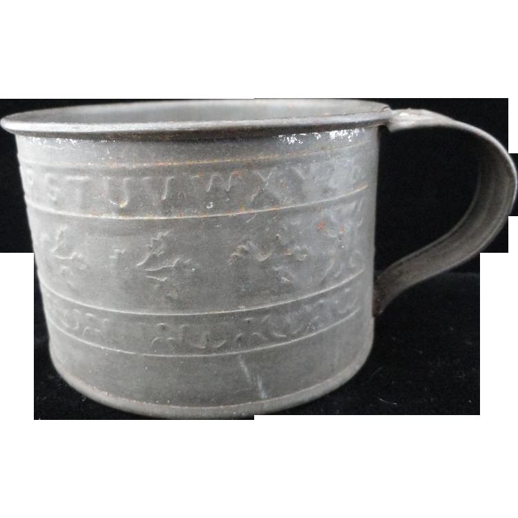 Small Civil War Tin Mug ~ ALPHABET 1860