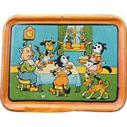 Scarce KRAZY KAT Tin Litho Tea Set Tray c1925 Dressed Animals