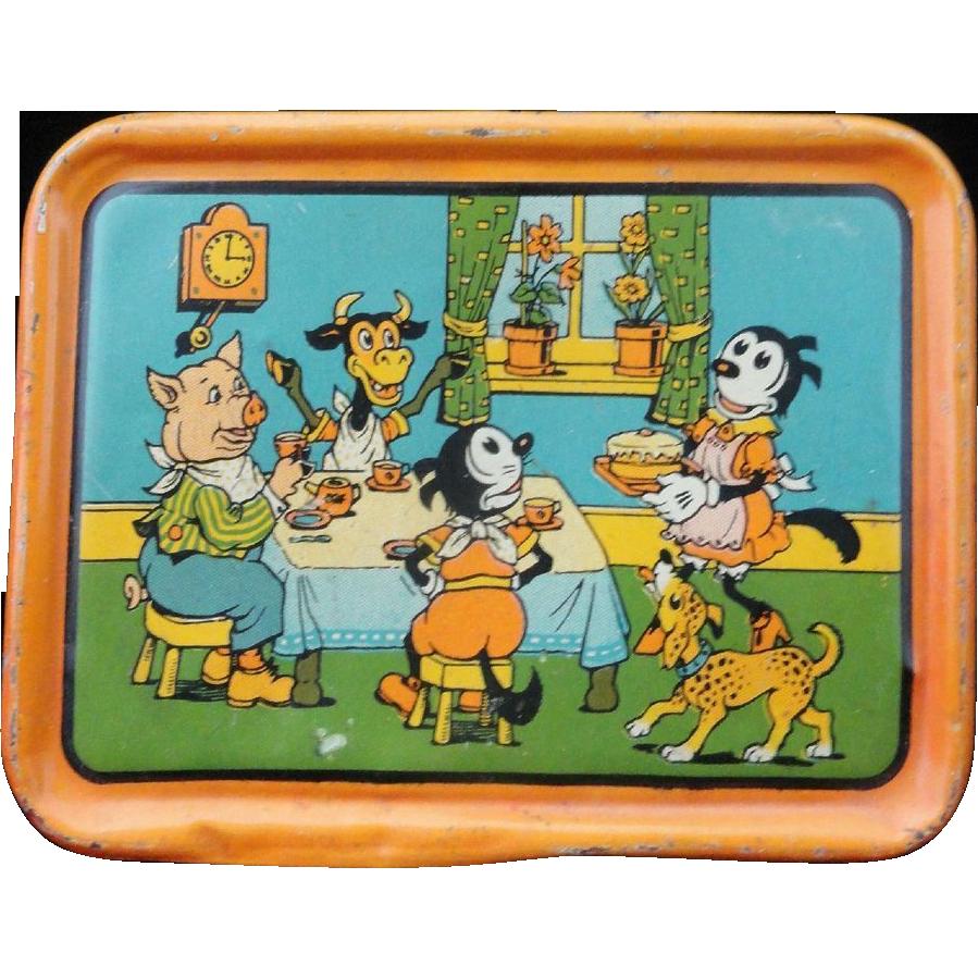 Scarce KRAZY KAT Tin Litho Tea Set Tray c1925 Dressed Animals