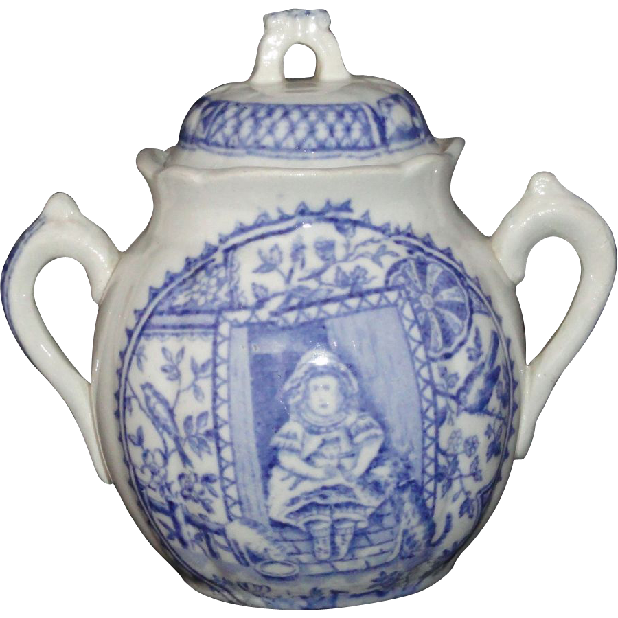 Staffordshire Childs Tea Set Biscuit Jar Little Mae PETS CAT DOG c1880 Flow Blue