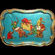 Child's Tin Litho Tray  Dressed Monkey Music Orchestra  Germany c 1900