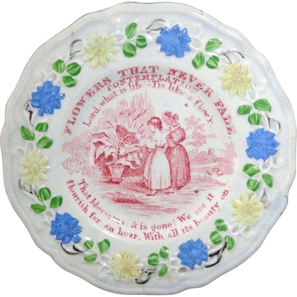 Staffordshire Childs Plate Flowers That Never Fade Lessons CONTEMPLATION c1820 2 of 4