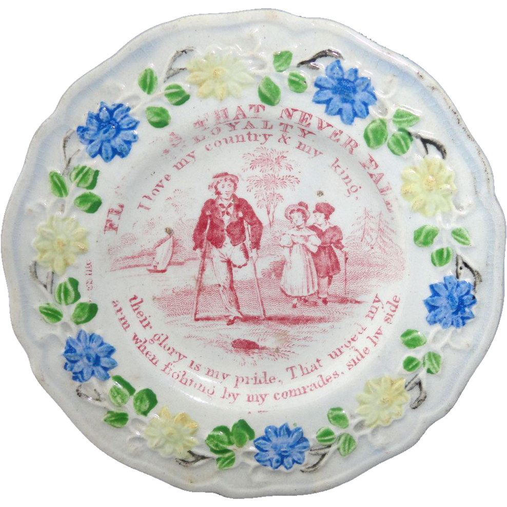 Staffordshire Childs Plate ~ Flowers That Never Fade Lessons LOYALTY c1820 3of4