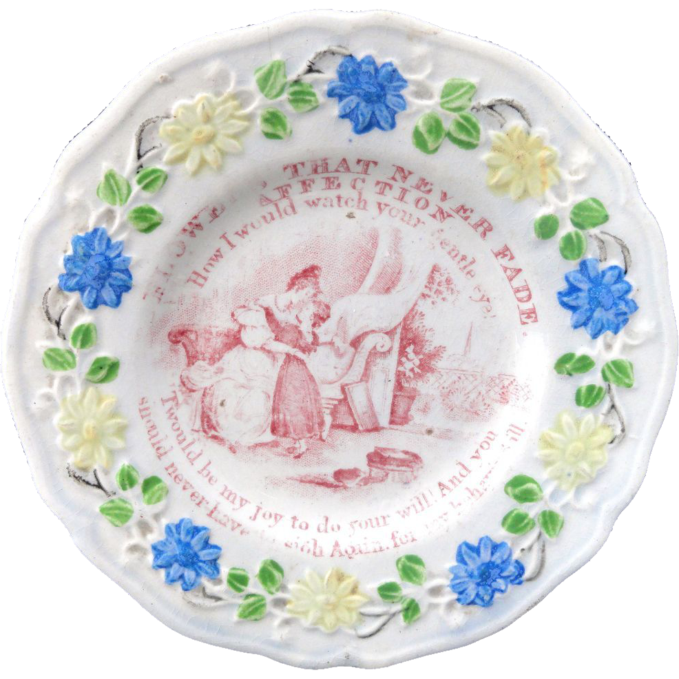 Staffordshire Childs Plate ~ Flowers That Never Fade Lessons AFFECTION c1820 4 of 4