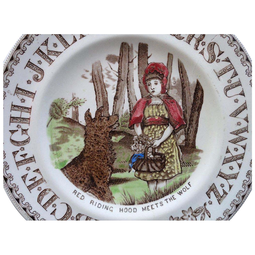 Antique Nursery Alphabet Plate ~ Red Riding Hood Meets Wolf ~ 1880