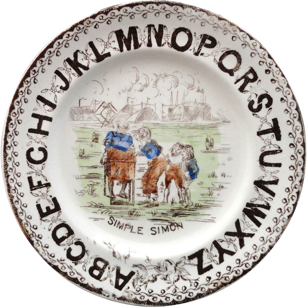 Victorian Nursery Alphabet Plate ~ ABC Simple Simon ~ 1880