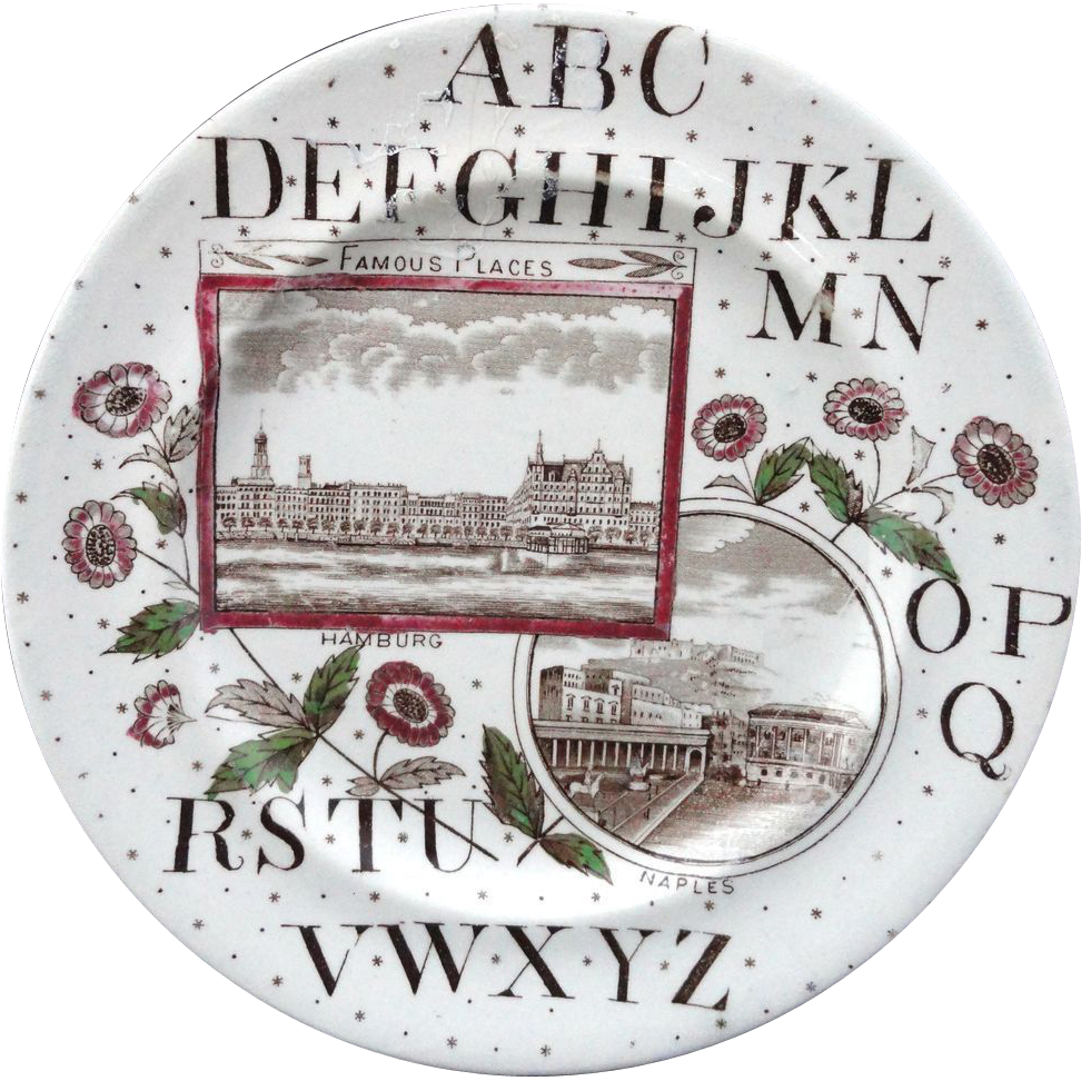 Victorian English ABC Plate ~ Hamburg + Naples ~ 1880