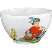 Rare Childs Colorful Transferware Waste Bowl PIED PIPER DANCING PIGS Copeland
