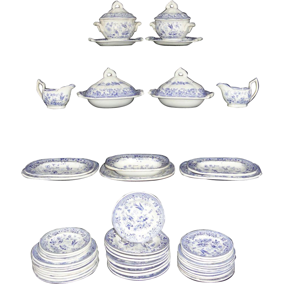 Staffordshire Pearlware Miniature Childs Dinner Service BIRDS WITH FRUIT c1840