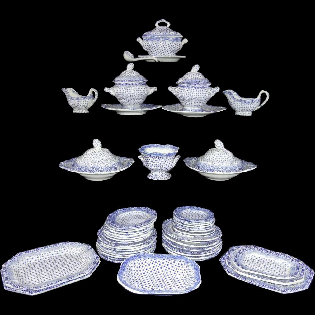 Pearlware Miniature Dinner Service c1840 Dimmock Dimity Staffordshire