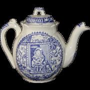 Staffordshire Flow Blue Childs Teapot Little Mae Pets Cats Dog Allerton 1880
