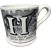 Black Transfer Printed Child's Alphabet Mug ~ Horse Goose 1840