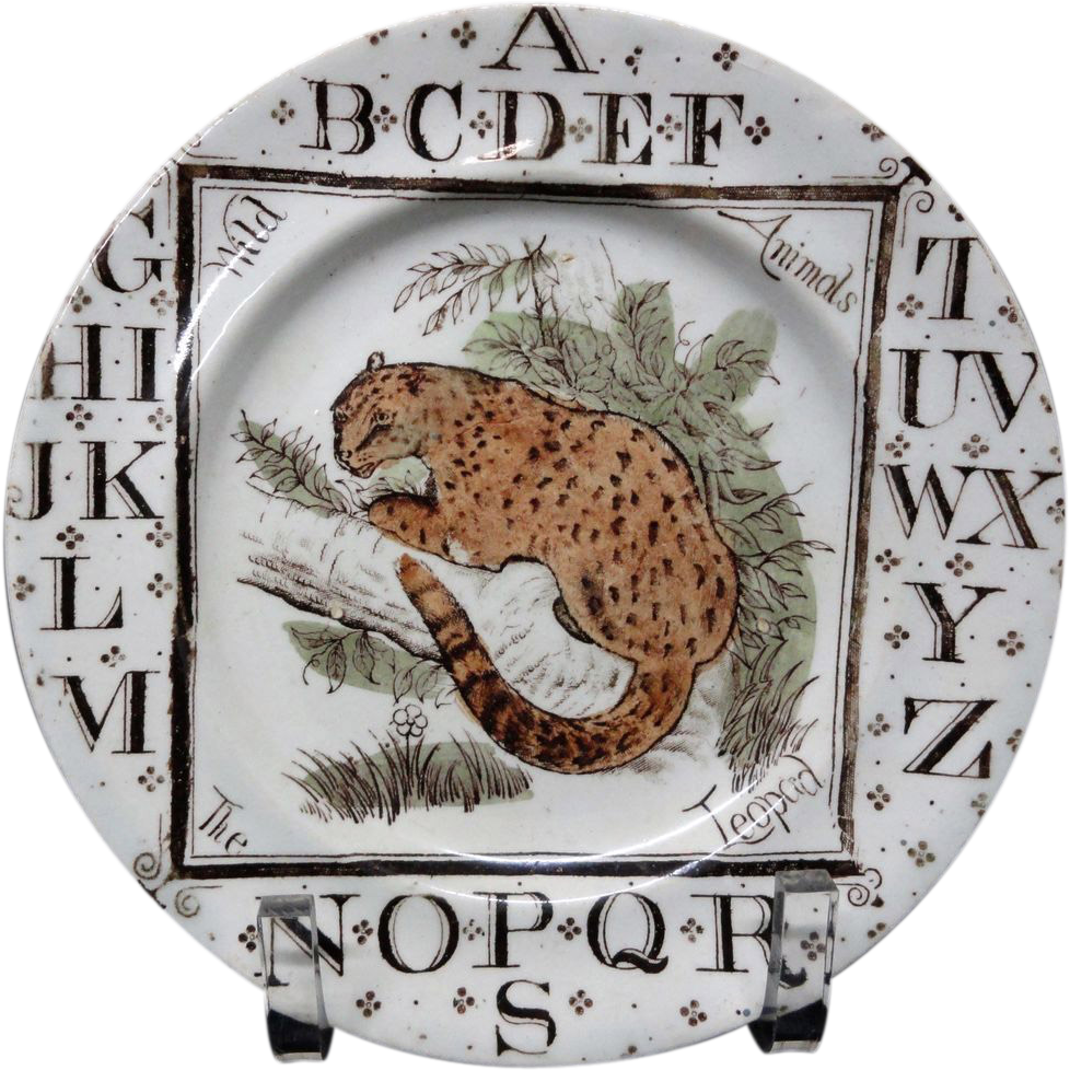 Childrens Alphabet ABC Plate ~ The LEOPARD 1880