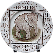 Outstanding ABC Plate ~ Wild Animals ~ THE ELEPHANT 1880