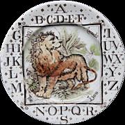 Antique ABC Plate ~ Wild Animals ~ The LION 1880
