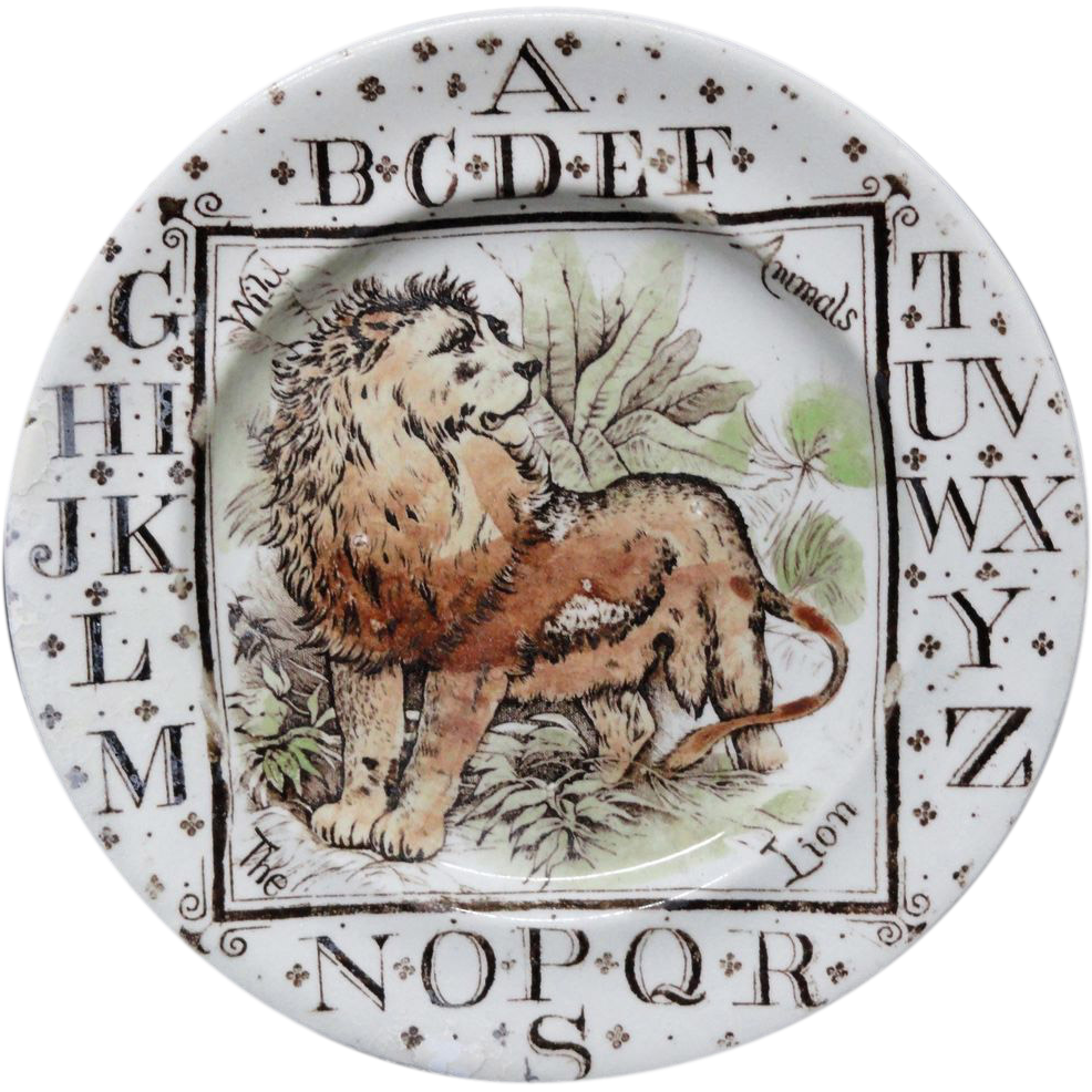 Antique ABC Plate ~ Wild Animals ~ The LION 1880