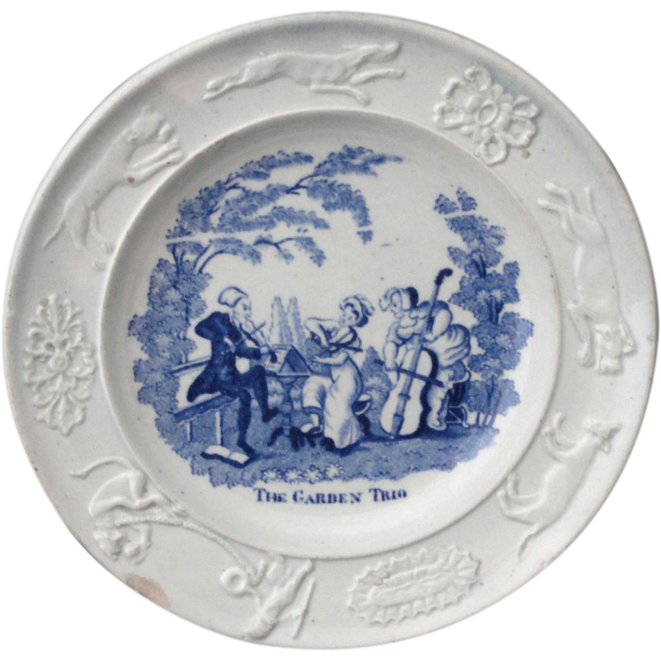 Childs Transferware Plate Dr Syntax GARDEN CHAMBER MUSIC TRIO 1820 Swansea
