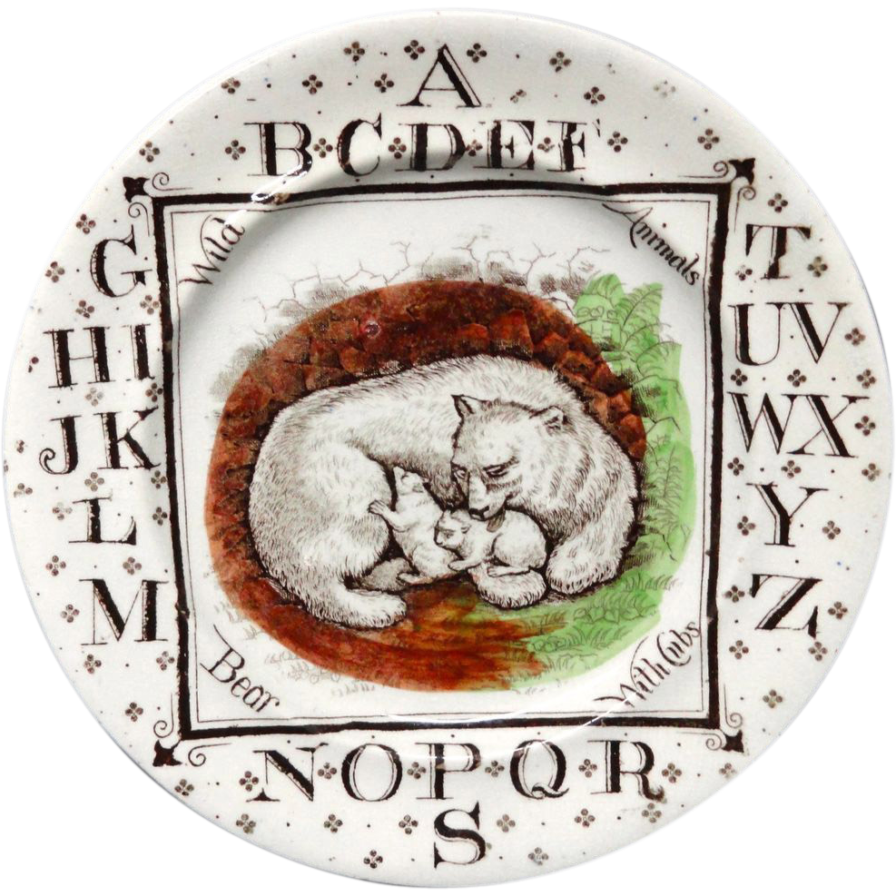 Antique ABC Plate ~ Wild Animals ~ POLAR BEARS 1880