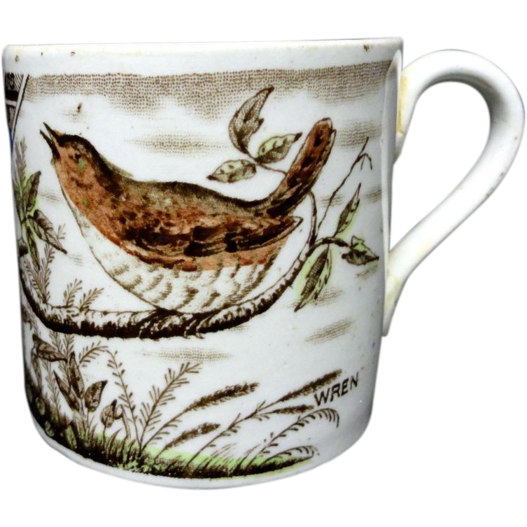 Antique Alphabet Staffordshire Transferware Mug ~ WREN 1880