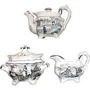 Rare Pearlware Miniature Tea Set c1825 COUNTRY LIFE Hackwood Staffordshire Black